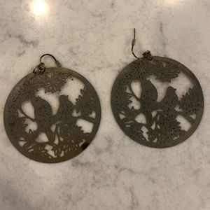 Jewelry - Gold Bird Disc Earrings